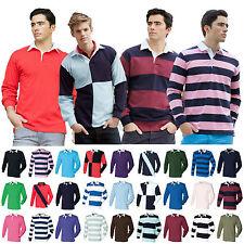 Mens Long Sleeve Plain Rugby Shirt Stripe Striped Diagonal Harlequin Cotton