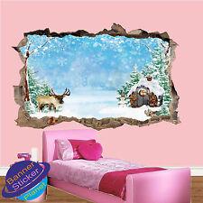 Ciervo De Invierno 3D choza de nieve congelada pared Adhesivo decoración de habitación destrozada Calcomanía Mural YJ9
