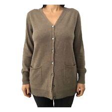 CA' VAGAN cardigan lungo donna tortora 90%lana 10%cashmer 13305 MADE IN MONGOLIA