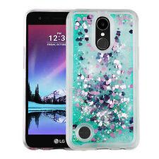 for LG K20 Plus / K10 (2017) /LV5 GREEN Bling Hybrid Liquid Glitter case Cover