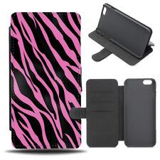 Pink Zebra Print Flip Phone Case Cover Wallet Kids Childs Animal Childrens si200