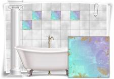 Fliesenaufkleber Fliesen Aufkleber Vintage Nostalgie Retro Mint Violett Bad WC