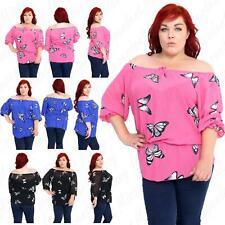Women Ladies Plus Size Butterfly Print Chiffon Off Shoulder Gypsy Boho Top Shirt