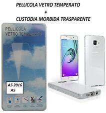1 PELLICOLA VETRO ANTIURTO + CUSTODIA COVER GEL SOFT PER SAMSUNG A5 2016 A510