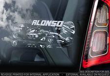 Fernando Alonso-Voiture Fenêtre Autocollant-Formule 1 F1 Autocollant Signe Art Ferrari-V03