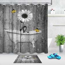 Wood Board Bathtub White Flower Butterfly Shower Curtain Bathroom Accessory Sets