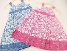 BNWT Girls pink or blue pretty summer floral cotton dress . 12-18 mth  2-3 Year