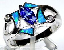 Beautiful Blue Fire Opal 925 Sterling Silver & Tanzanite Stone Ring size 6,7,8,9