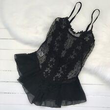 Sexy Plus Size 8-22 Elegant Black Bodysuit Lingerie Teddy Lace Floral Peplum Hot