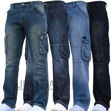 Nuevo Para Hombre Diseñador oscuro de carga de combate Denim Jeans Pantalones todos en la cintura y piernas Tamaños Budd