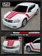 Dodge Avenger 2008-2014 Hood & Side Triple Boss Stripes Decals (Choose Color)