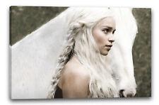 Lein-Wand-Bild: Game of Thrones Daenerys Targaryen weisses Pferd