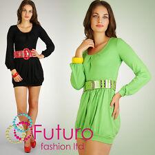 trendy & Sexy mini abito tunica stile girocollo manica lunga taglia 8-12 6002