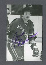 Carol Vadnais signed New York Rangers b&w postcard