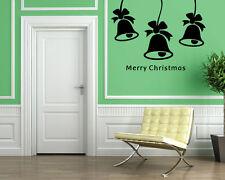 Merry Christmas Bells Holidays Decor Wall MURAL Vinyl Art Sticker M026