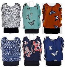 Women Ladies Chiffon Butterfly Print Rib-Hem Cami Blouse Top Batwing Size S-XXL