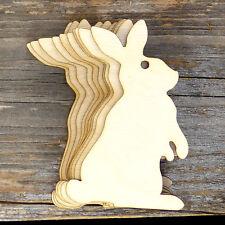 10x Wooden Rabbit Sitting Upright Plain Craft Shape 3mm Ply Animals Pets