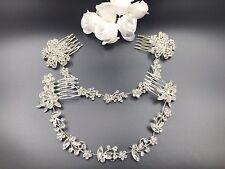 Stunning Bridal Vintage Style Silver Grogeous Crystal Hair Comb Slide Tiara