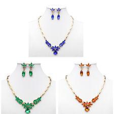 80b55c1b9 Elegant Royal Blue Austrian Crystal Rhinestone Necklace Earrings Set Bridal  Prom