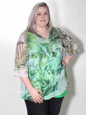 20% XXL Tunic Blouse v. Doris Streich Size 48 50 Green Multicoloured Transparent
