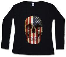 USA STARS & STRIPES SKULL FLAG DAMEN LANGARM T-SHIRT American US Biker