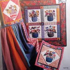 Applique Posie flower basket wall hanging quilt pattern jumper bib scrap