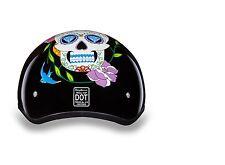 MOTORCYCLE HELMET Skull Cap DOT DIAMOND SKULL by Daytona Low Profile-4 Sizes!