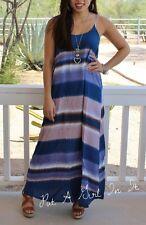 GORGEOUS SHE & SKY NAVY BLUE TIE DYE BOHEMIAN LONG MAXI STRAP DRESS BOHO S M L