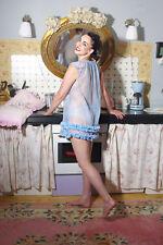 Pin UP Nylon Babydoll mit Rüsche Ruffle vintage look
