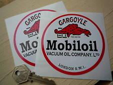 """MOBILOIL Vuoto Olio GARGOYLE Benzina Gas Pompa ADESIVI 4"""" Coppia Mobil Restauro"""