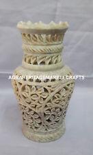 Marble Flower Vase Handmade Lattice Floral Work Hallway Outdoor Decorative H4173