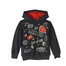 Disney Cars Lightning Mcqueen Zipper Front Hoodie Sweat Shirt Boy Size 5 6