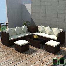 vidaXL Conjunto Sofás e Jardín Negro o Marron y Beige 26 Piezas Ratán Sintético