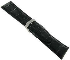 28mm Morellato Alligator Grain Black Padded Genuine Leather Watch Band Strap