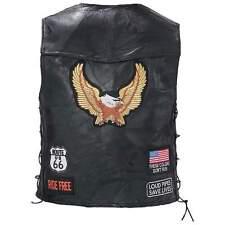 Mens Eagle Patch Black Buffalo Leather Motorcycle Vest + Lacing US Flag MC Biker