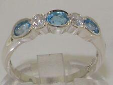 10ct White Gold Natural Blue Topaz & Diamond Womens Eternity Ring - Sizes J to Z