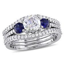 Amour Diamond, Created White & Blue Sapphire Bridal Set 10k White Gold