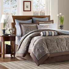 Beautiful 12Pc Luxurious Elegant Brown Silver Grey Blue Comforter Set & Sheets
