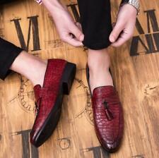 Chic Mens Alligator Leather Dress Formal Shoes Business Slip On Tassels Loafers
