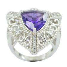"Genuine Gems Faceted Amethyst ring 925 Sterling Silver item gift Valentine""s UK"