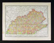 1914 McNally Map - Tennessee Kentucky - Louisville Nashville Memphis Lexington