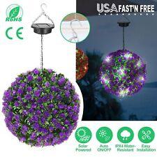 Solar Power Lights Ball Artificial Rose Flower Garden Hanging Light Ipx4