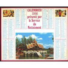 Calendrier Cartonné Service De Nettoiement 1986