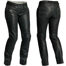 HALVARSSONS Seth femmes délavé souple cuir noir pantalon moto