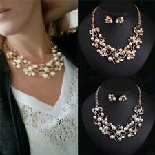 Pearls Crystal Tree Leaves Necklace Earring  Elegant Ladies Luxury Jewelry Set D