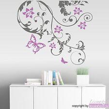 WANDTATTOO - Ranke Susi Ranke Blüten Blumen Schmetterling Wandsticker Aufkleber