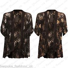 Ladies Women's Floral Lace Short Sleeve Open Cardigan Kimono Top Plus Size 14-28