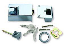 Roller Bolt Night Latch Polished - Satin Chrome Front Door Lock - Rim Cylinder