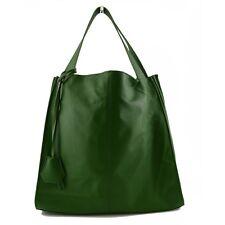 Sac Shopper en Cuir Véritable avec Pendentif en Cuir - Lilli Vert