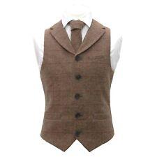 Luxury Herringbone Brown Tweed Waistcoat with Lapel & Matching Tie